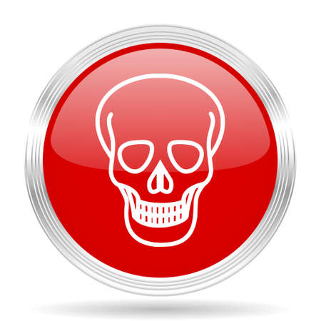 pirating: skull red glossy circle modern web icon on white background