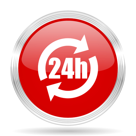 24h: 24h red glossy circle modern web icon on white background
