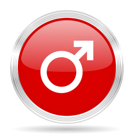 chrome man: male red glossy circle modern web icon on white background