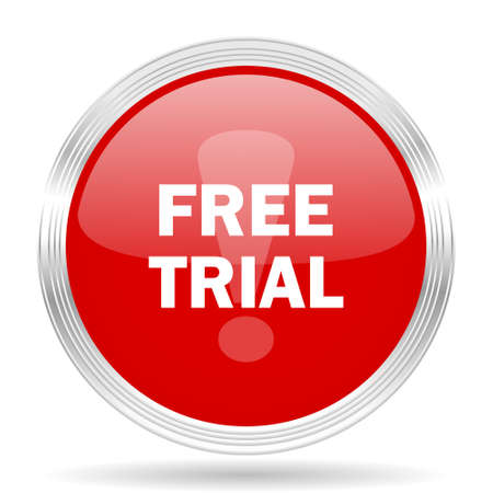 free trial: free trial red glossy circle modern web icon on white background Stock Photo