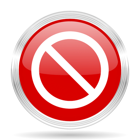 entrance is forbidden: access denied red glossy circle modern web icon on white background