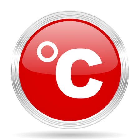 celsius: celsius red glossy circle modern web icon on white background