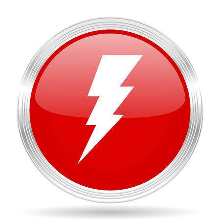 bolt: bolt red glossy circle modern web icon on white background
