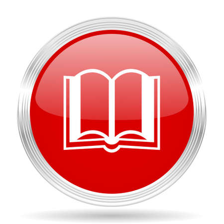 guestbook: book red glossy circle modern web icon on white background