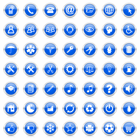 internet business blue icons set Archivio Fotografico