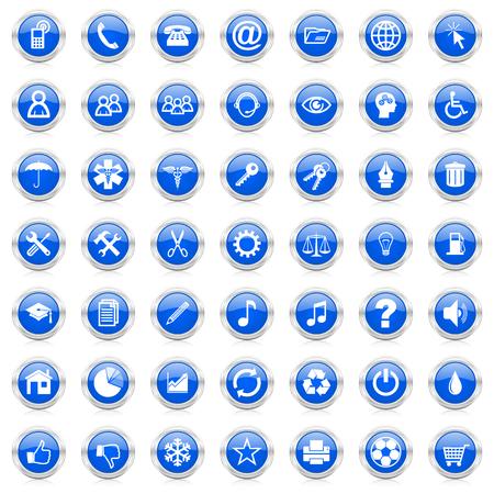 Internet zestaw ikon biznesu niebieskie