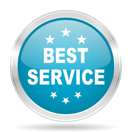 best service: best service blue glossy metallic circle modern web icon on white background