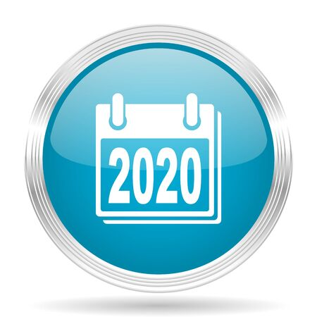 agenda year planner: new year 2020 blue glossy metallic circle modern web icon on white background