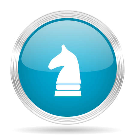 chess horse: chess horse blue glossy metallic circle modern web icon on white background