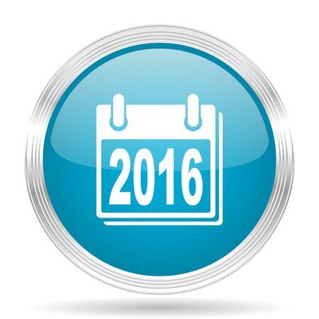 agenda year planner: new year 2016 blue glossy metallic circle modern web icon on white background Stock Photo