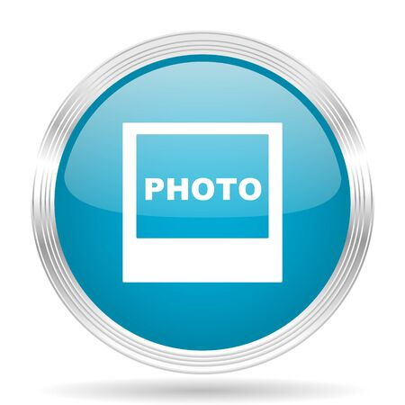 silver picture frame: photo blue glossy metallic circle modern web icon on white background Stock Photo