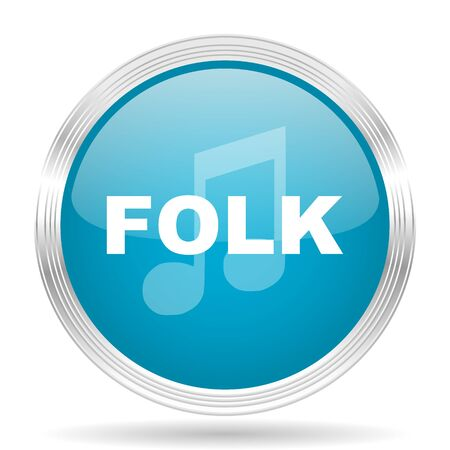 folk music: folk music blue glossy metallic circle modern web icon on white background