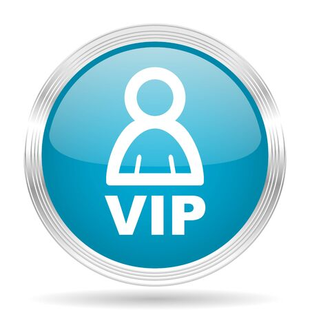 private club: vip blue glossy metallic circle modern web icon on white background