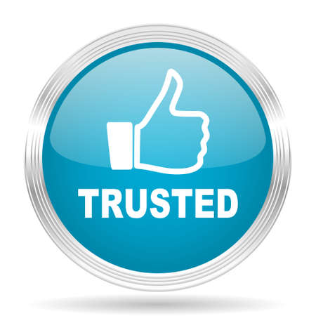 trusted: trusted blue glossy metallic circle modern web icon on white background
