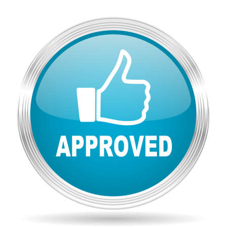 approval button: approved blue glossy metallic circle modern web icon on white background Stock Photo