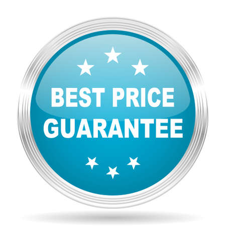 lowest: best price guarantee blue glossy metallic circle modern web icon on white background Stock Photo
