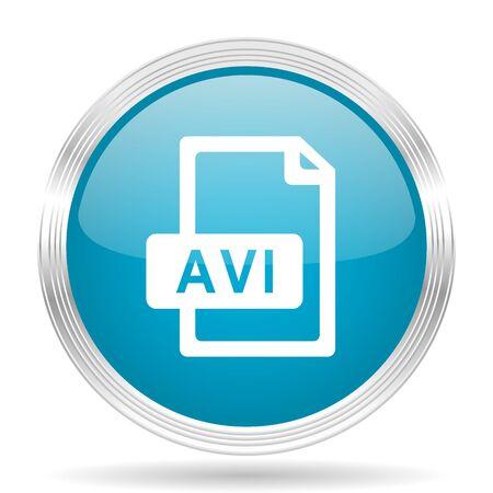avi: avi file blue glossy metallic circle modern web icon on white background