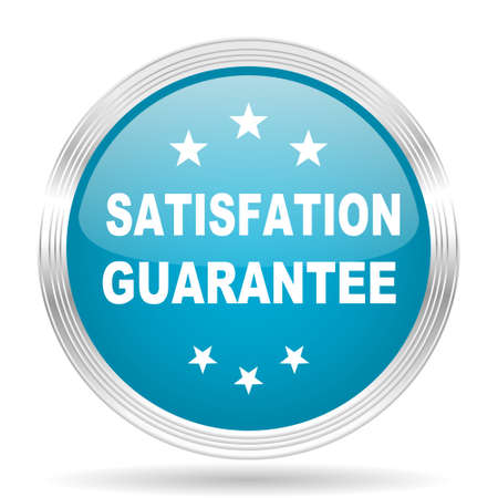 guarantee: satisfaction guarantee blue glossy metallic circle modern web icon on white background