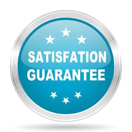 satisfaction guarantee: satisfaction guarantee blue glossy metallic circle modern web icon on white background