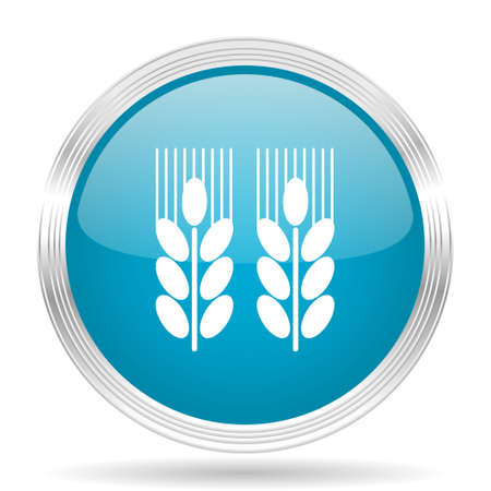 crop circle: agricultural blue glossy metallic circle modern web icon on white background