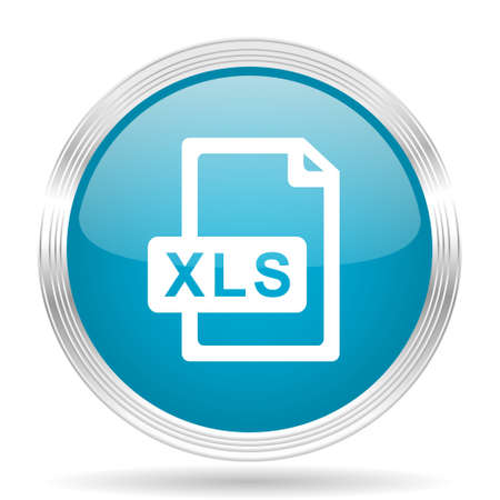 calc: xls file blue glossy metallic circle modern web icon on white background