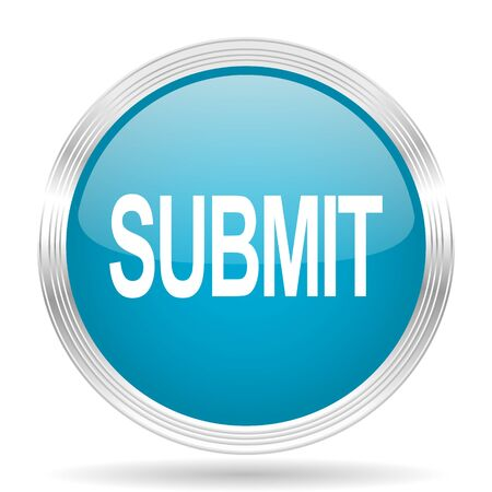 submit: submit blue glossy metallic circle modern web icon on white background
