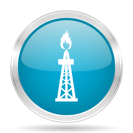 shale: gas blue glossy metallic circle modern web icon on white background