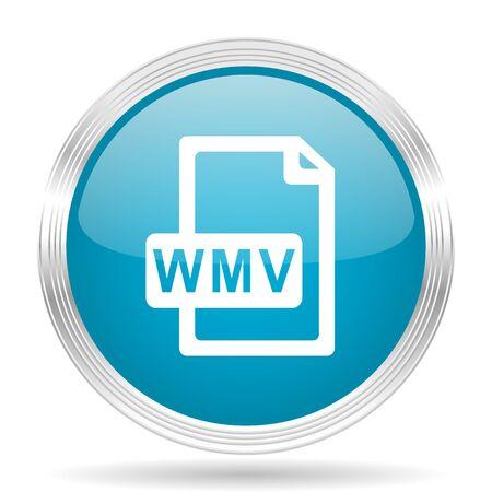 wmv: wmv file blue glossy metallic circle modern web icon on white background Stock Photo