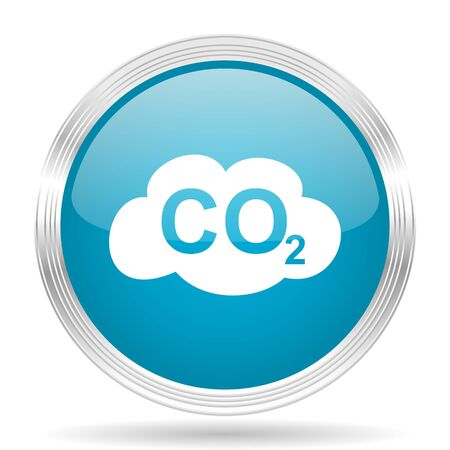 carbon dioxide: carbon dioxide blue glossy metallic circle modern web icon on white background