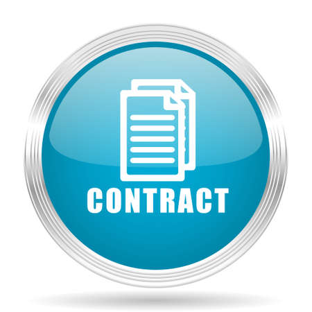 contraction: contract blue glossy metallic circle modern web icon on white background