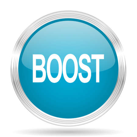 boost: boost blue glossy metallic circle modern web icon on white background Stock Photo