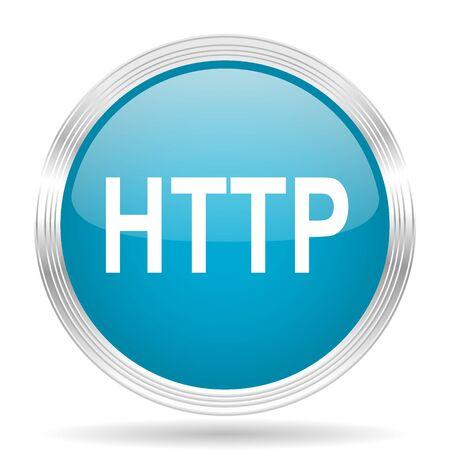 http: http blue glossy metallic circle modern web icon on white background Stock Photo
