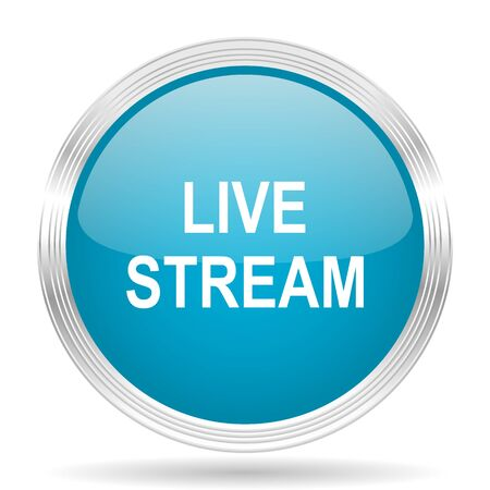 live stream: live stream blue glossy metallic circle modern web icon on white background Stock Photo