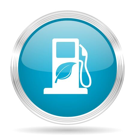 biofuel: biofuel blue glossy metallic circle modern web icon on white background