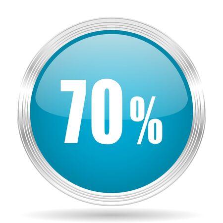 70: 70 percent blue glossy metallic circle modern web icon on white background