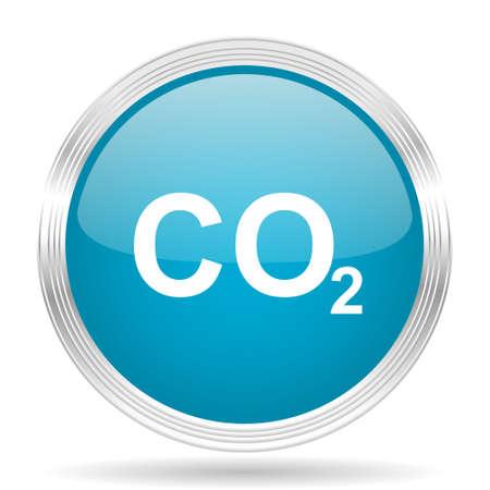 dioxide: carbon dioxide blue glossy metallic circle modern web icon on white background