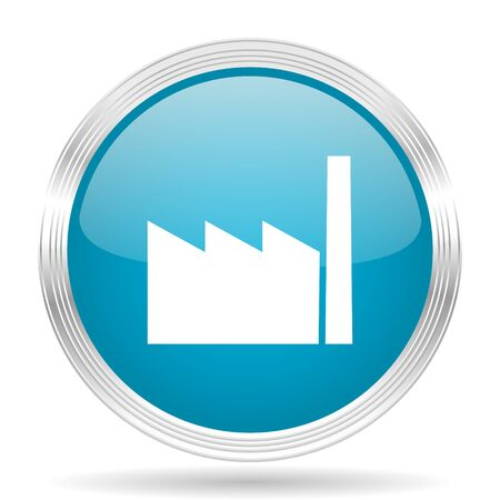 industry design: factory blue glossy metallic circle modern web icon on white background Stock Photo