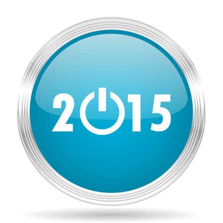new beginnings: new year 2015 blue glossy metallic circle modern web icon on white background