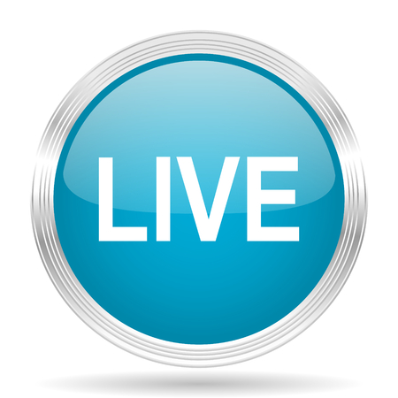 live stream movie: live blue glossy metallic circle modern web icon on white background