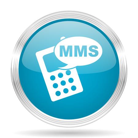 mms: mms blue glossy metallic circle modern web icon on white background