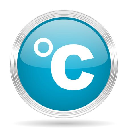 celsius: celsius blue glossy metallic circle modern web icon on white background