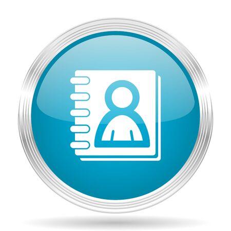 web address: address book blue glossy metallic circle modern web icon on white background Stock Photo
