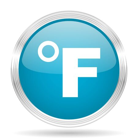 fahrenheit: fahrenheit blue glossy metallic circle modern web icon on white background Stock Photo