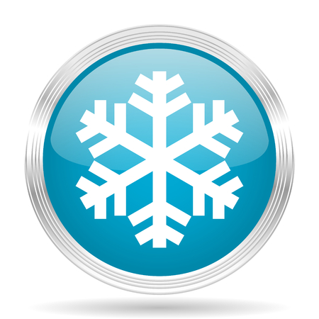 snow blue glossy metallic circle modern web icon on white background Stock Photo