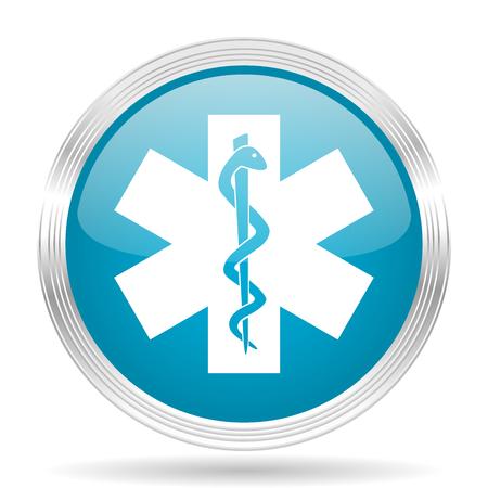 blue icon: emergency blue glossy metallic circle modern web icon on white background