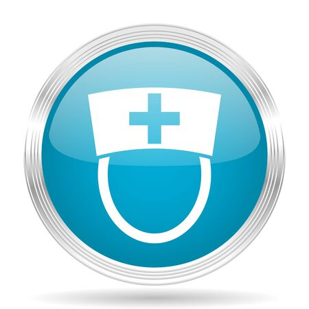 internet background: nurse blue glossy metallic circle modern web icon on white background Stock Photo