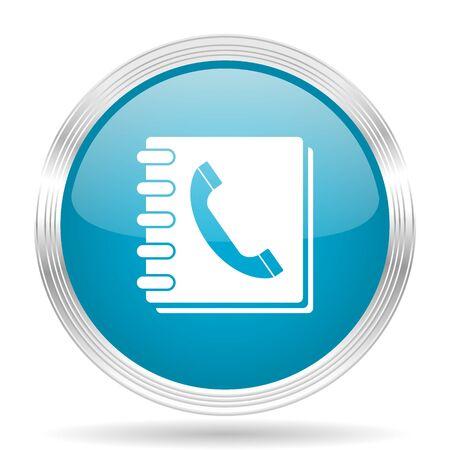 phonebook: phonebook blue glossy metallic circle modern web icon on white background