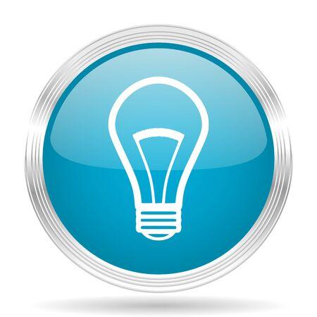 lighting button: bulb blue glossy metallic circle modern web icon on white background Stock Photo