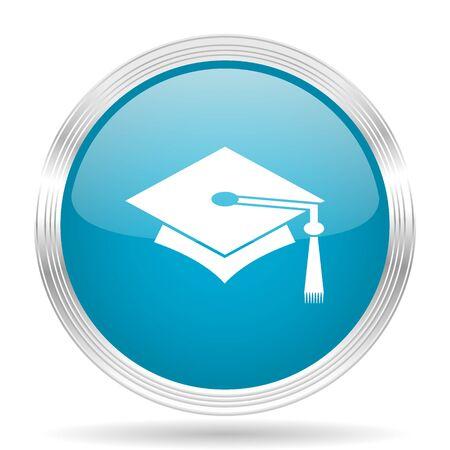 internet background: education blue glossy metallic circle modern web icon on white background