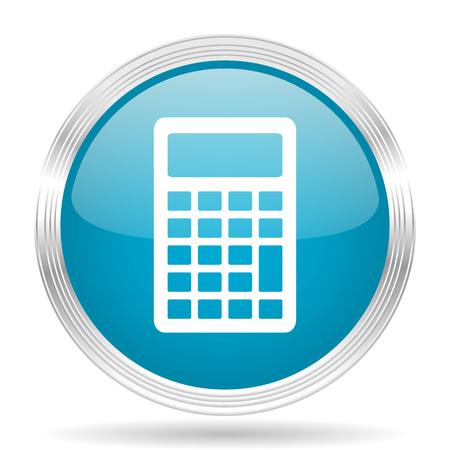 calculator blue glossy metallic circle modern web icon on white background